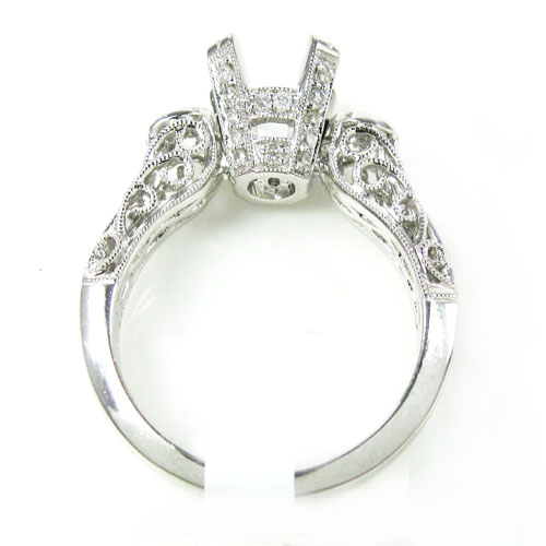 Ladies 14k white gold round diamond semi mount ring 0.56ct