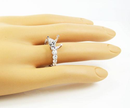 Ladies 18k white gold round diamond semi mount ring 1.33ct