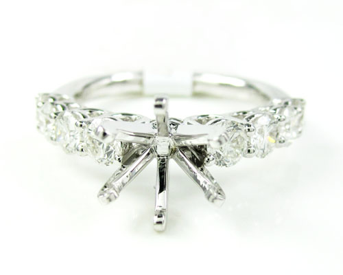 Ladies 18k white gold round diamond semi mount ring 1.23ct