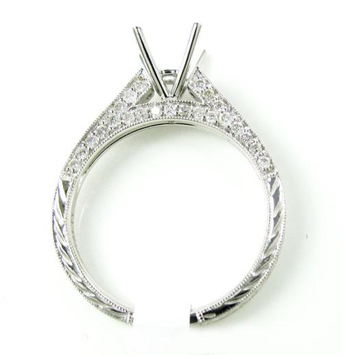 Ladies 18k white gold round diamond semi mount ring 0.60ct
