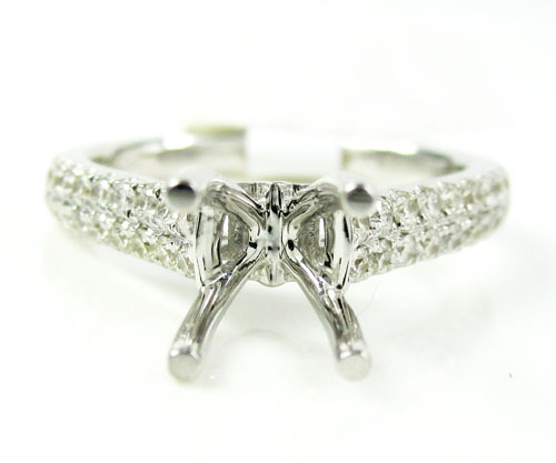 Ladies 18k white gold round diamond semi mount ring 0.48ct