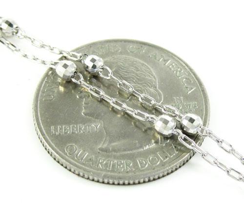 10k white gold diamond cut rosary bead bracelet with cross 8 inch 2.75mm