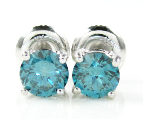 14k large gold blue round diamond studs 1.00ct