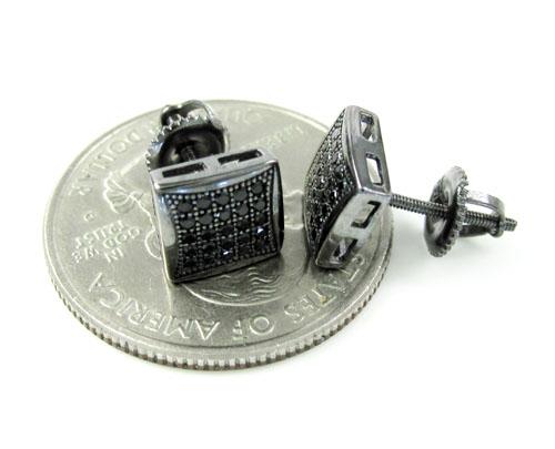 .925 black sterling silver black cz earrings 0.50ct