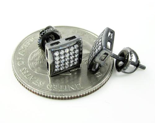 .925 black sterling silver white cz earrings 0.50ct
