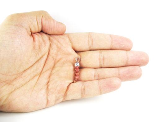 Unisex 18k gold sapphire & diamond italian horn pendant 1.36ct
