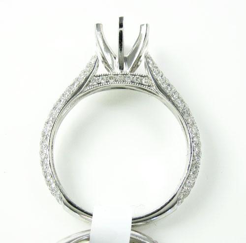 18k white gold diamond semi mount ring set 1.38ct