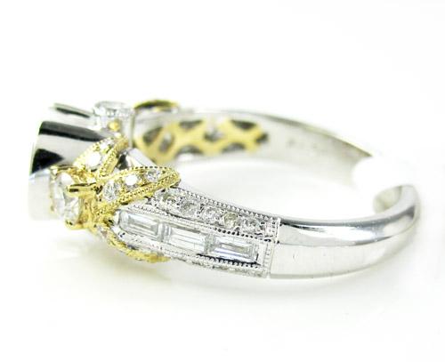 14k two tone gold diamond flower semi mount ring set 0.78ct