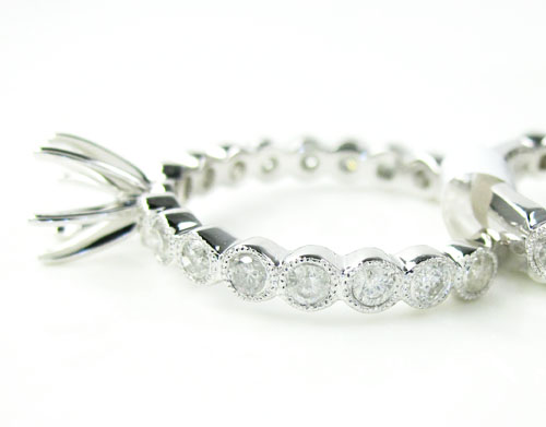 14k white gold round diamond semi mount ring set 1.28ct