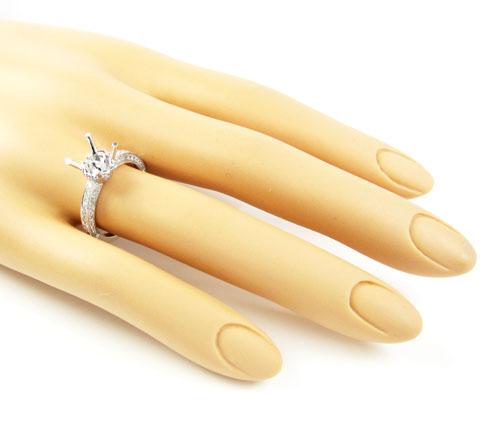 18k white gold round diamond semi mount ring 0.66ct