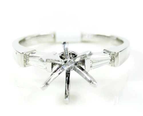 14k white gold baguette diamond semi mount ring 0.14ct