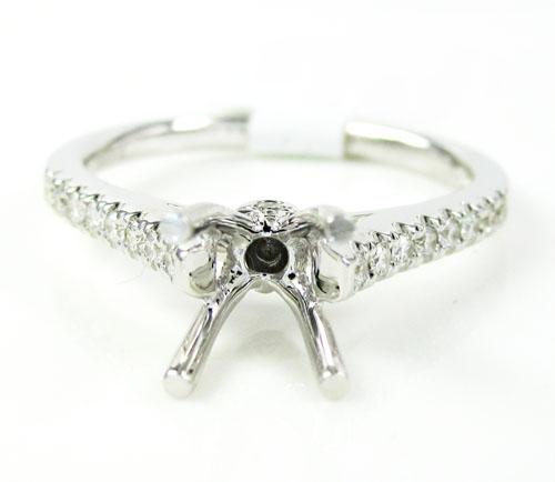 18k white gold round diamond semi mount ring 0.18ct
