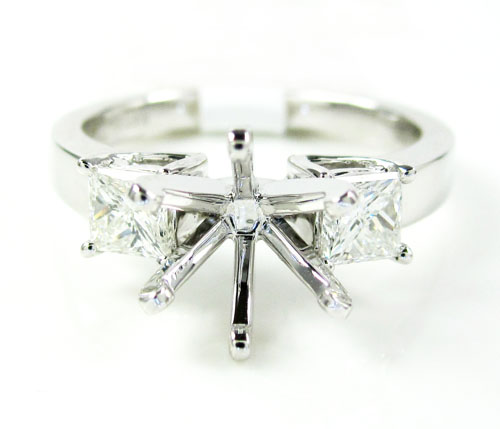 18k white gold princess diamond semi mount ring 0.68ct