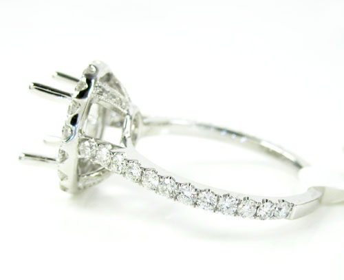 18k white gold round diamond semi mount ring 0.90ct