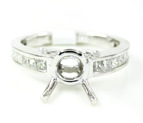 18k white gold princess diamond semi mount ring 0.45ct