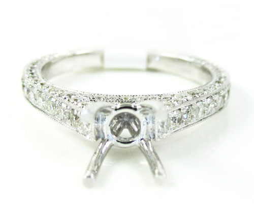 18k white gold round diamond semi mount ring 0.95ct