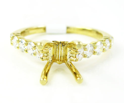18k yellow gold round diamond semi mount ring 0.66ct