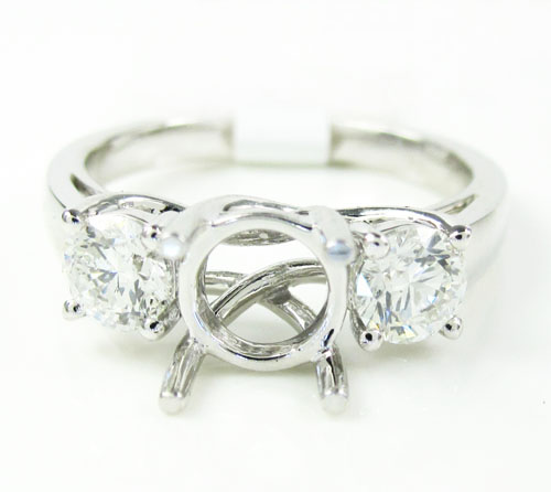 18k white gold round diamond semi mount ring 0.75ct