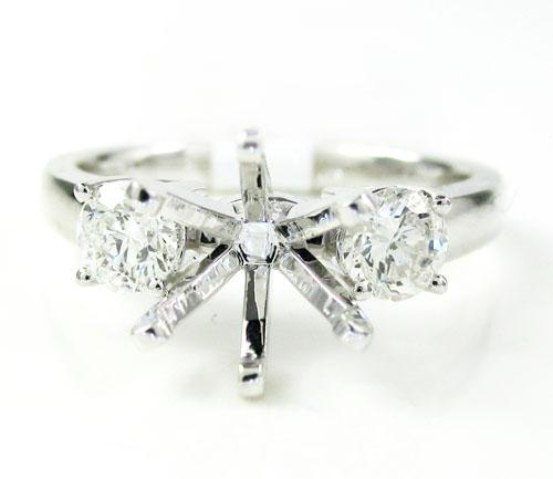18k white gold round diamond semi mount ring 0.52ct