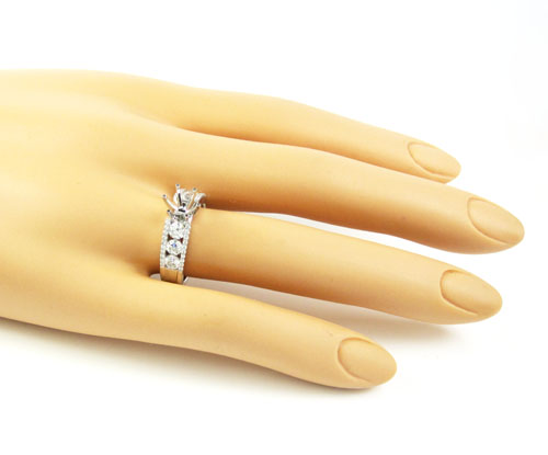 18k white gold round diamond semi mount ring 1.03ct