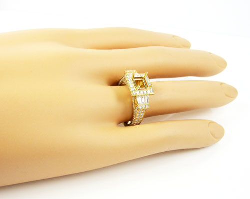 18k yellow gold baguette & round diamond semi mount ring 1.60ct
