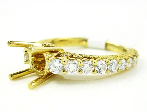 18k yellow gold round diamond semi mount ring 1.15ct