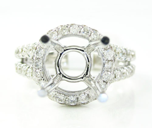 18k white gold round diamond semi mount ring 0.86ct