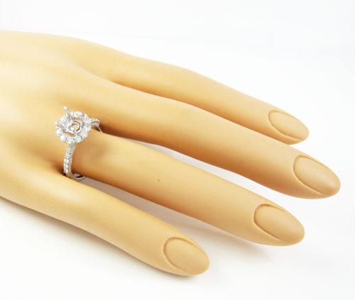 18k white gold round diamond semi mount ring 1.13ct