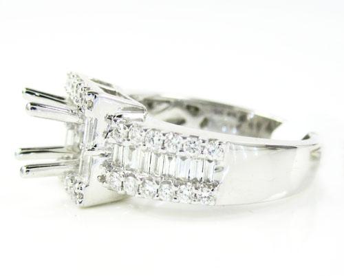 14k white gold round & baguette diamond semi mount ring 0.93ct