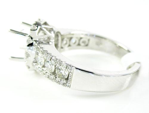 18k white gold round diamond semi mount ring 1.41ct