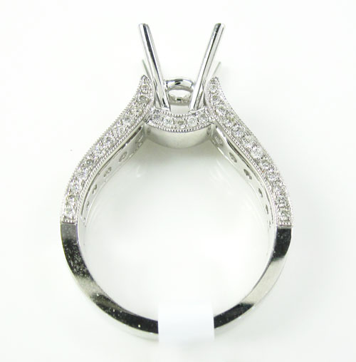 18k white gold round diamond semi mount ring 1.18ct
