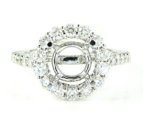 18k white gold round diamond semi mount ring 0.86ct