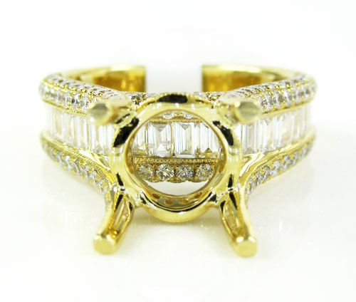 18k yellow gold round & baguette diamond semi mount ring 1.66ct