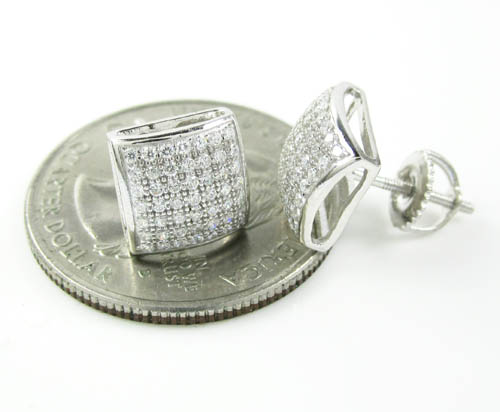 .925 white sterling silver white cz earrings 0.98ct