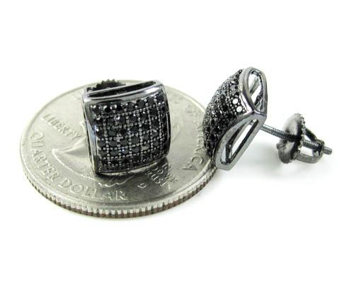 .925 black sterling silver black cz earrings 0.85ct