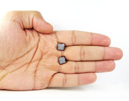 .925 black sterling silver white cz earrings 0.98ct