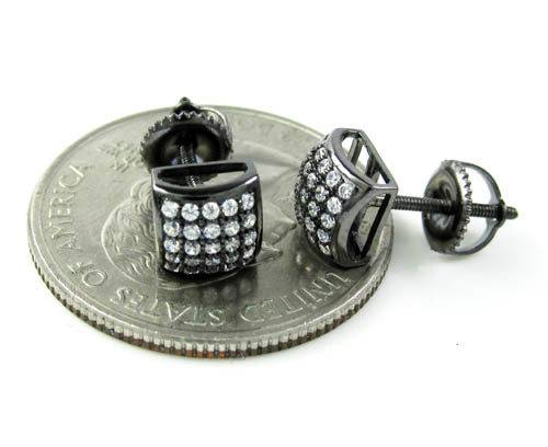 .925 black sterling silver white cz earrings 0.50ct