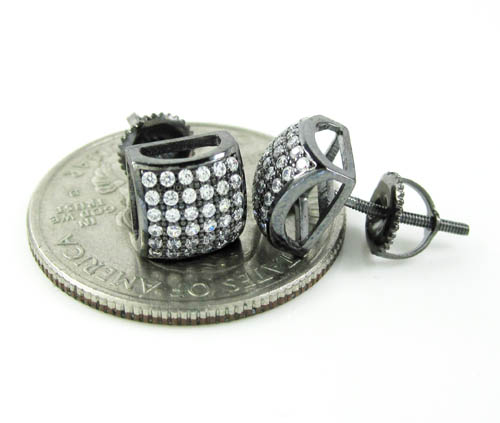 .925 black sterling silver white cz earrings 0.72ct