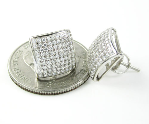 .925 white sterling silver white cz earrings 1.62ct