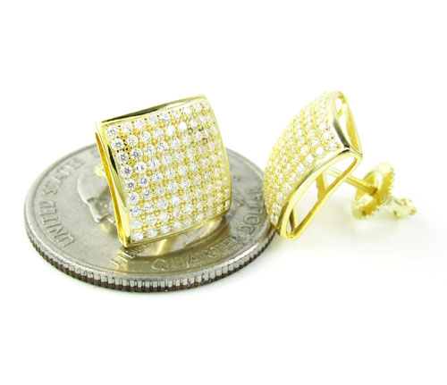 .925 yellow sterling silver white cz earrings 1.62ct