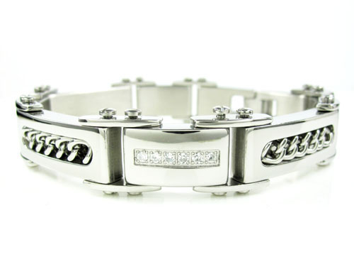 Mens white stainless steel spring loaded cz bracelet 0.18ct
