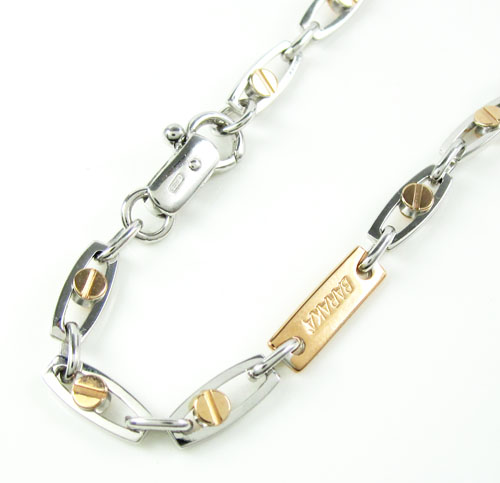 Mens baraka 18k rose & white gold fancy screw link bracelet 8 inches 4mm
