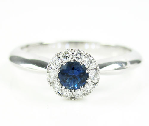 Ladies 18k white gold diamond & blue sapphire fashion ring 0.34ct