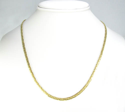 10k yellow gold flat byzantine chain 16 inch 4mm