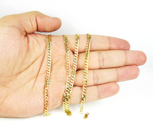 10k yellow gold cuban chain 22-36 inch 3.80mm