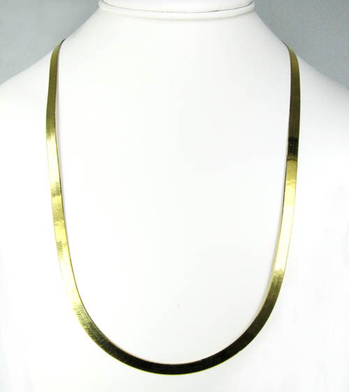 10k yellow gold herringbone chain 24 inch 5mm