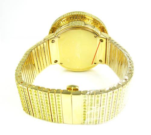 Mens techno com kc canary cz xl bezel digital watch 25.00ct