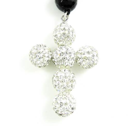 Black onyx rhinestone faceted bead rosary chain 17.00ct