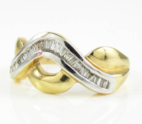Ladies 14k two tone gold baguette diamond swirl ring 0.50ct