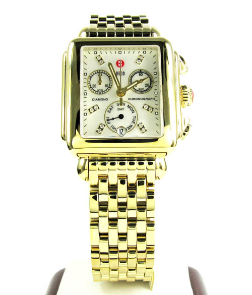 Ladies michele deco day diamond dial yellow stainless steel watch 0.05ct